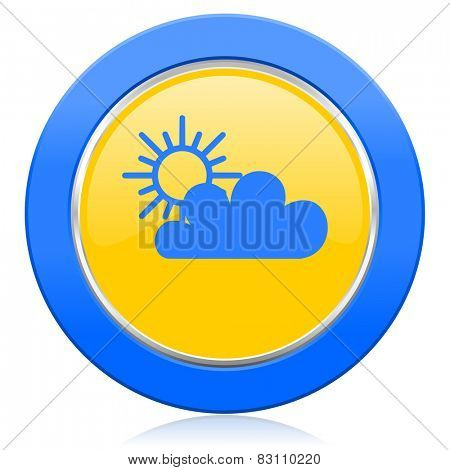 cloud blue yellow icon waether forecast sign