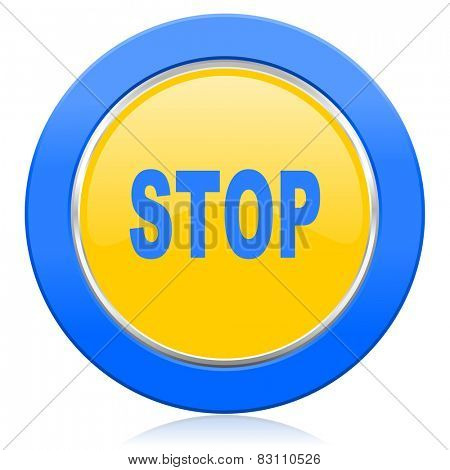 stop blue yellow icon