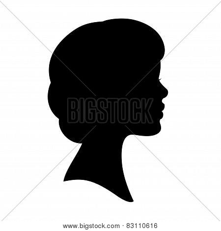 Woman Face Black Silhouette Wavy Hair