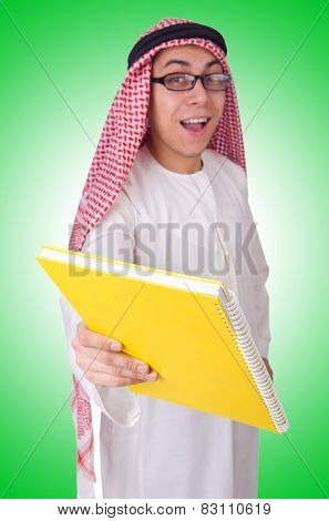 Arab student isolated on white