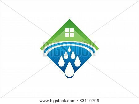 real estate logo,house square nature health,water home supply solution