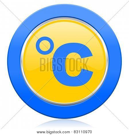 celsius blue yellow icon temperature unit sign