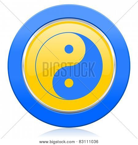 ying yang blue yellow icon