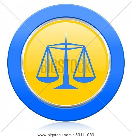 justice blue yellow icon law sign