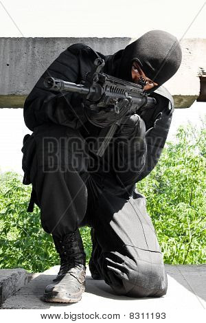 Armed Man Targeting With Ak-47 Rifle