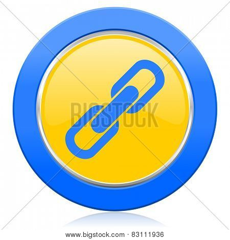 link blue yellow icon chain sign