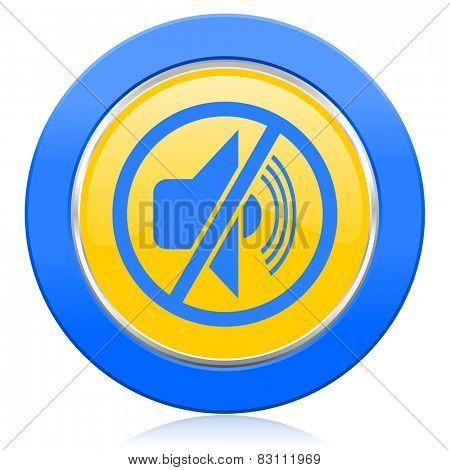 mute blue yellow icon silence sign