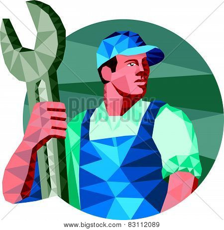 Mechanic Holding Spanner Wrench Low Polygon