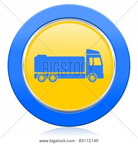 truck blue yellow icon cargo sign