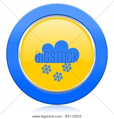 snowing blue yellow icon waether forecast sign