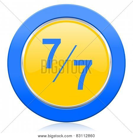 7 per 7 blue yellow icon