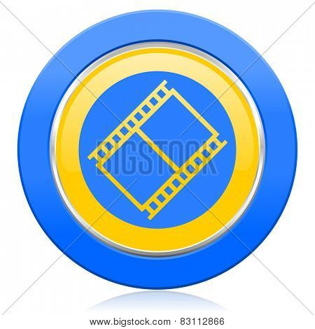 film blue yellow icon movie sign cinema symbol