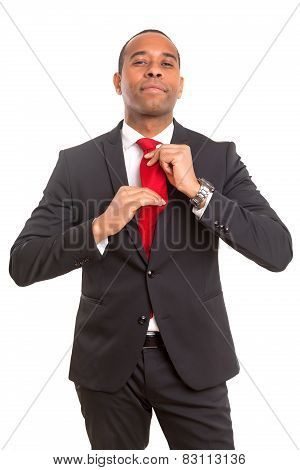 Business Man Fixing His Tie