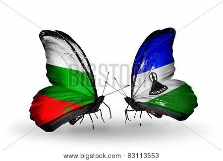 Two Butterflies With Flags On Wings As Symbol Of Relations Bulgaria And Lesotho