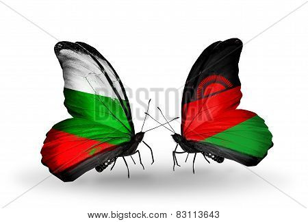 Two Butterflies With Flags On Wings As Symbol Of Relations Bulgaria And Malawi