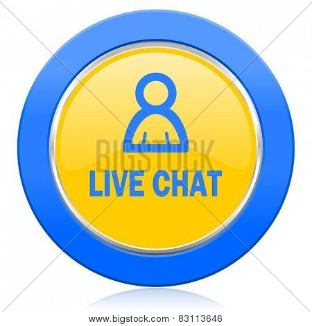 live chat blue yellow icon