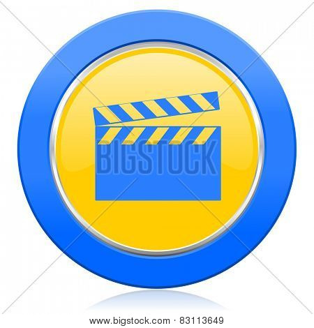 video blue yellow icon cinema sign