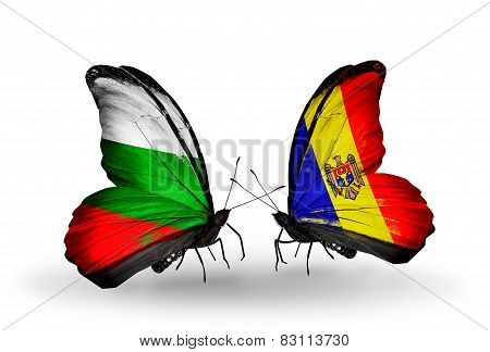 Two Butterflies With Flags On Wings As Symbol Of Relations Bulgaria And Moldova