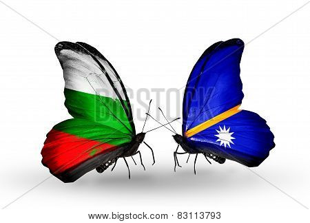 Two Butterflies With Flags On Wings As Symbol Of Relations Bulgaria And Nauru