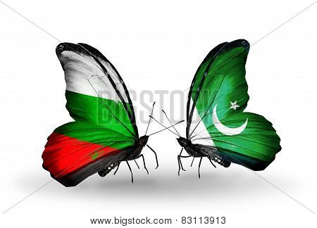 Two Butterflies With Flags On Wings As Symbol Of Relations Bulgaria And Pakistan