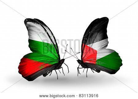 Two Butterflies With Flags On Wings As Symbol Of Relations Bulgaria And Palestine