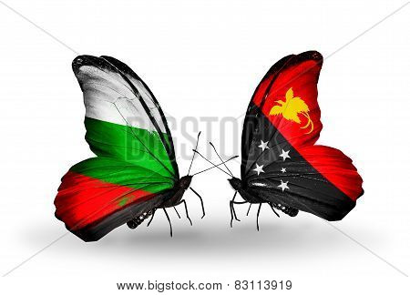 Two Butterflies With Flags On Wings As Symbol Of Relations Bulgaria And Papua New Guinea