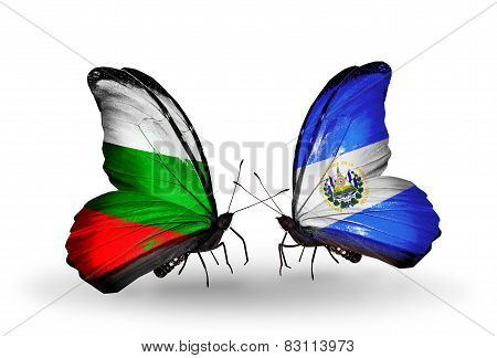 Two Butterflies With Flags On Wings As Symbol Of Relations Bulgaria And Salvador