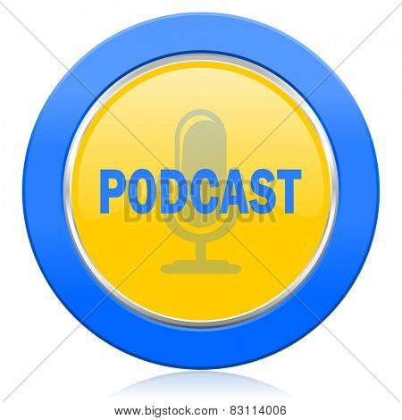 podcast blue yellow icon