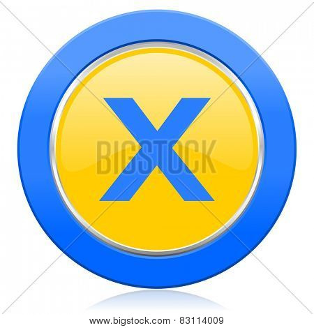 cancel blue yellow icon