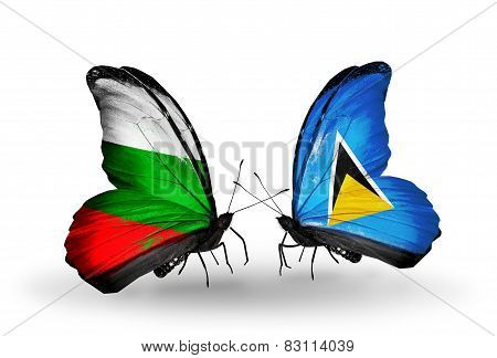 Two Butterflies With Flags On Wings As Symbol Of Relations Bulgaria And Saint Lucia