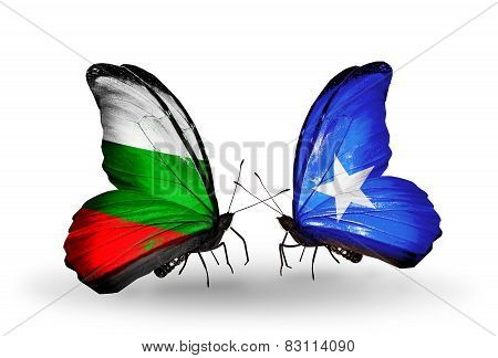 Two Butterflies With Flags On Wings As Symbol Of Relations Bulgaria And Somalia