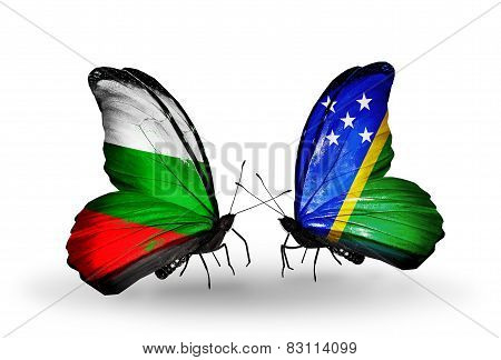Two Butterflies With Flags On Wings As Symbol Of Relations Bulgaria And Solomon Islands