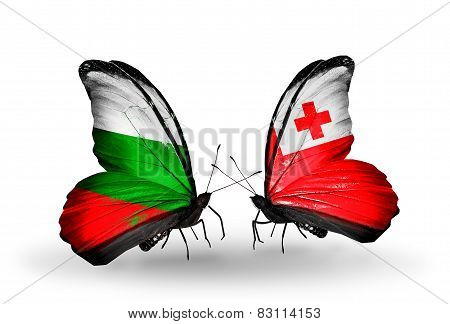 Two Butterflies With Flags On Wings As Symbol Of Relations Bulgaria And Tonga