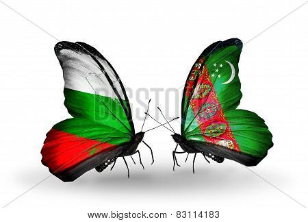 Two Butterflies With Flags On Wings As Symbol Of Relations Bulgaria And Turkmenistan