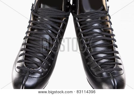 Sport Concept: Close Up Of Professional Black Men's Figure Skates Over White Background