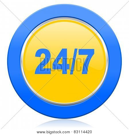 24/7 blue yellow icon