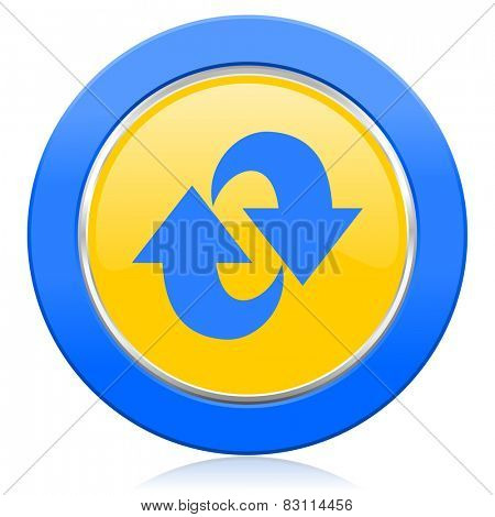 rotation blue yellow icon refresh sign