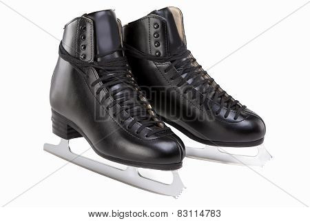 Pair Of Black Professional Mens Figure Skates Isolated Over White Background.