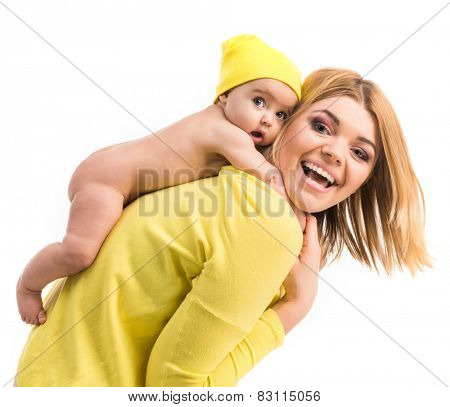 young mother with her little  daughter. Isolated on white background