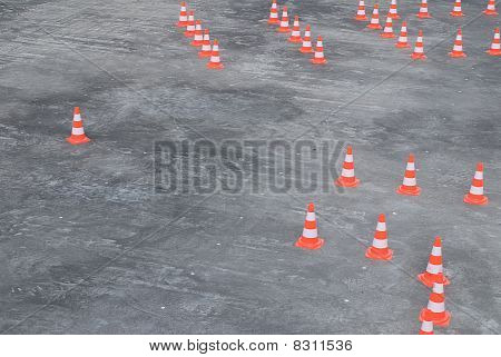 Large Group Of Traffic Cones In Rows