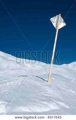 Metal Sign At Ski Slope
