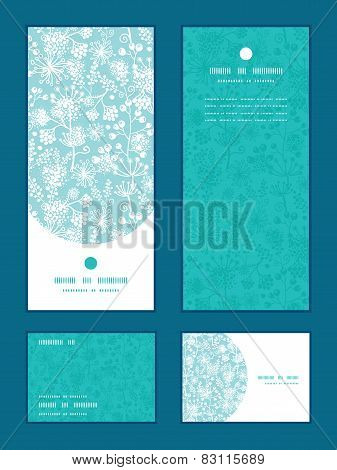 Vector blue and white lace garden plants vertical frame pattern invitation greeting, RSVP and thank