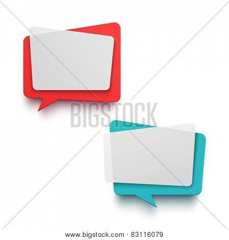 Vector plastic chat frames. Trendy material effect.