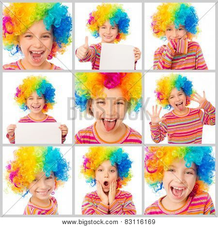 collage of little cute girl with a sheet of paper in his hands and in color clown wig makes faces on a white background
