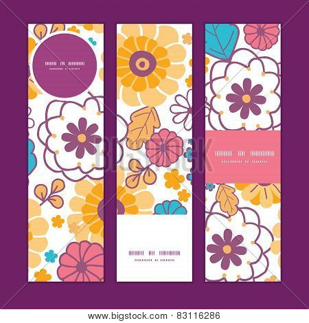 Vector colorful oriental flowers vertical banners set pattern background