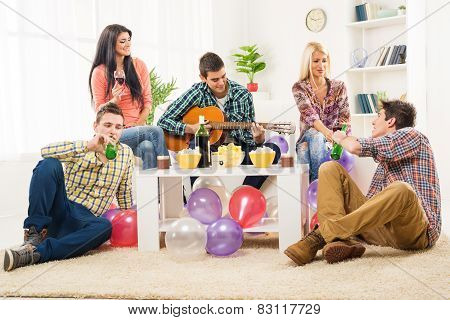 Friends At House Party