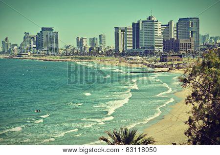 The Tel Aviv Sky Line Postcard / Vintage Look