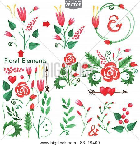 Watercolor red flowers,branshes,floral elements