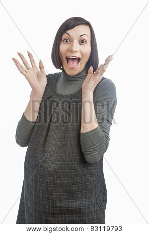 Funny Portrait Of Happy Pregnant Caucasian Woman Exclaiming And Smiling. Isolated Over White Backgro
