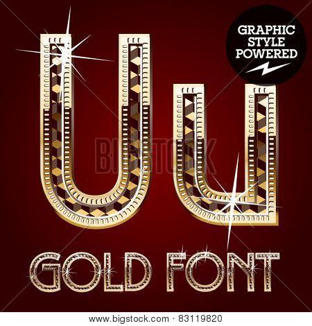 Vector set of gold rich alphabet with diamonds. Letter U